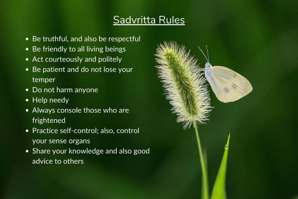 Infographic on Ayurveda's Sadvritta rules