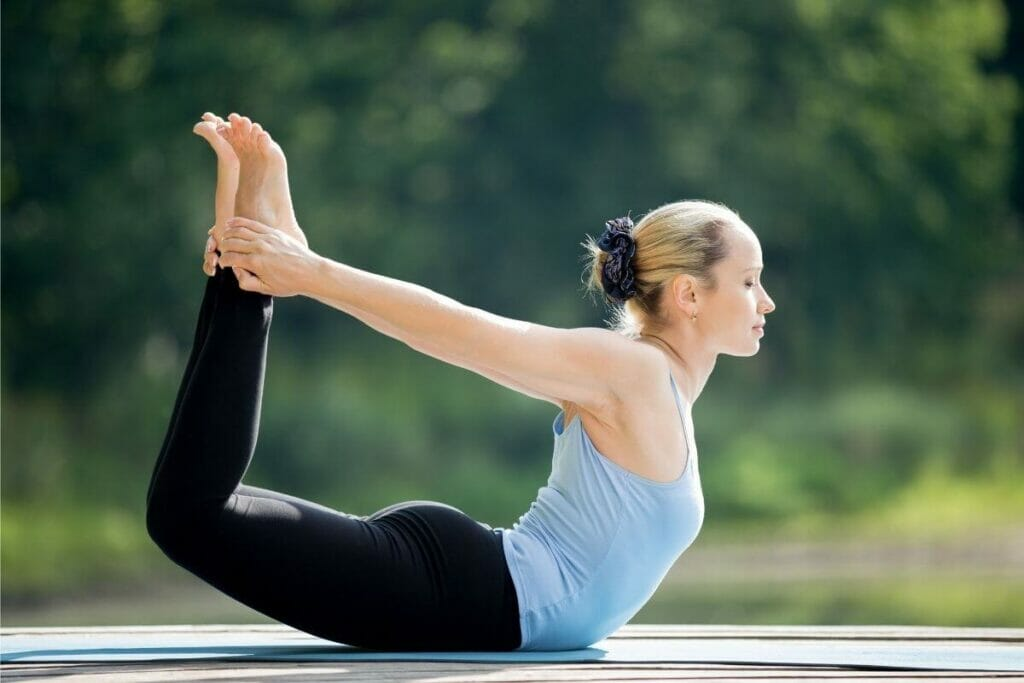 Yoga - bow pose for constipation relief