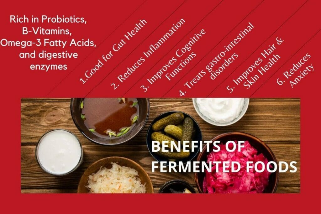 Infographic with an image of popular fermented foods and the texts mentioning the benefits
