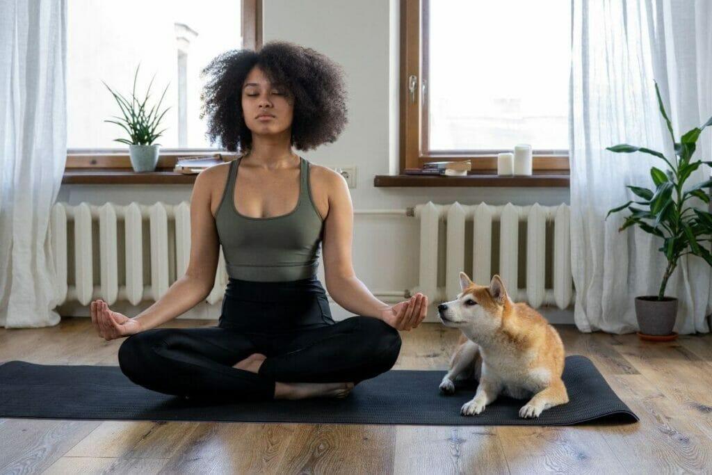 Girl meditating for stress management