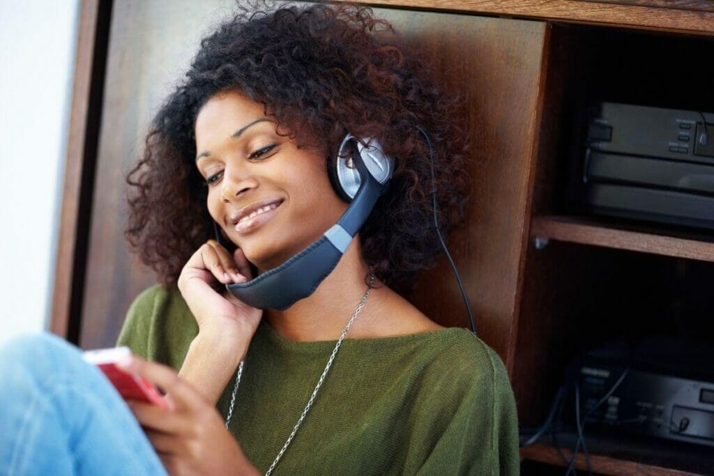 Girl listening to music - a stress management technique