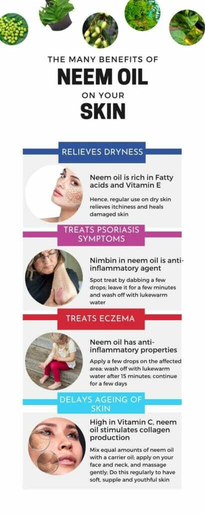 Infographic on Neem oil benefits for skin