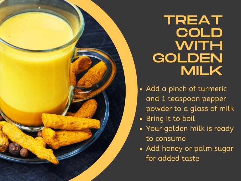 Infographic on treating common cold symptoms with turmeric golden milk
