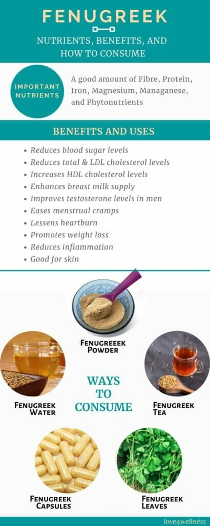 Infographic - Fenugreek nutrients, benefits, and usage