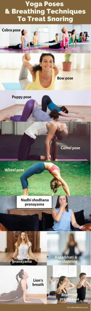 Infographic of yoga poses and breathing techniques to treat snoring