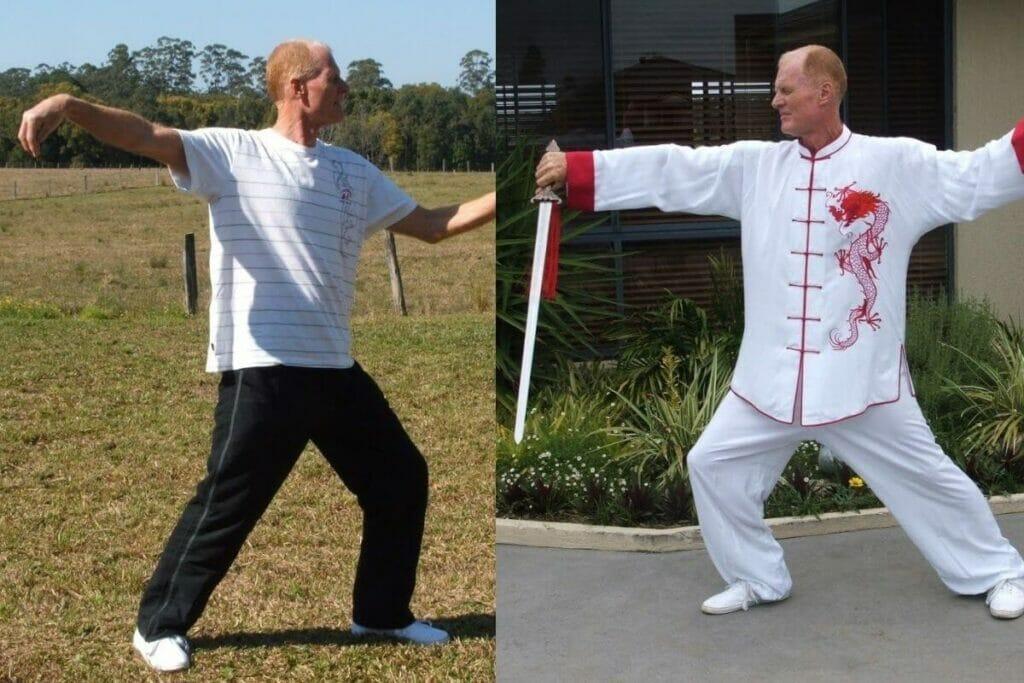 Peter castle practising Tai Chi exercise