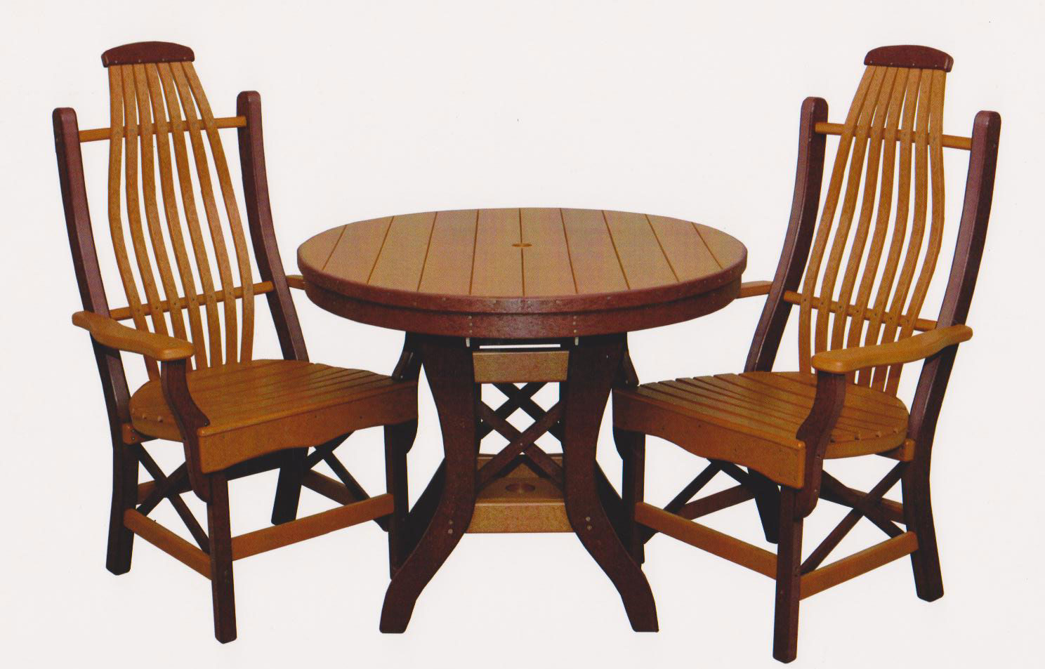 "Byler's Outdoor 36"" Round Table & 2 Bentwood Arm Chairs."