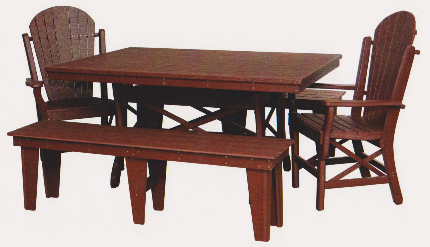 "Byler's Outdoor 44"" * 60"" Rectangle Dining Table, 2 Fan Back Arm Chairs, and 2 60"" Benches."
