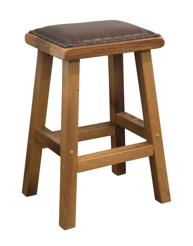 urban barnwood barstool leather seat