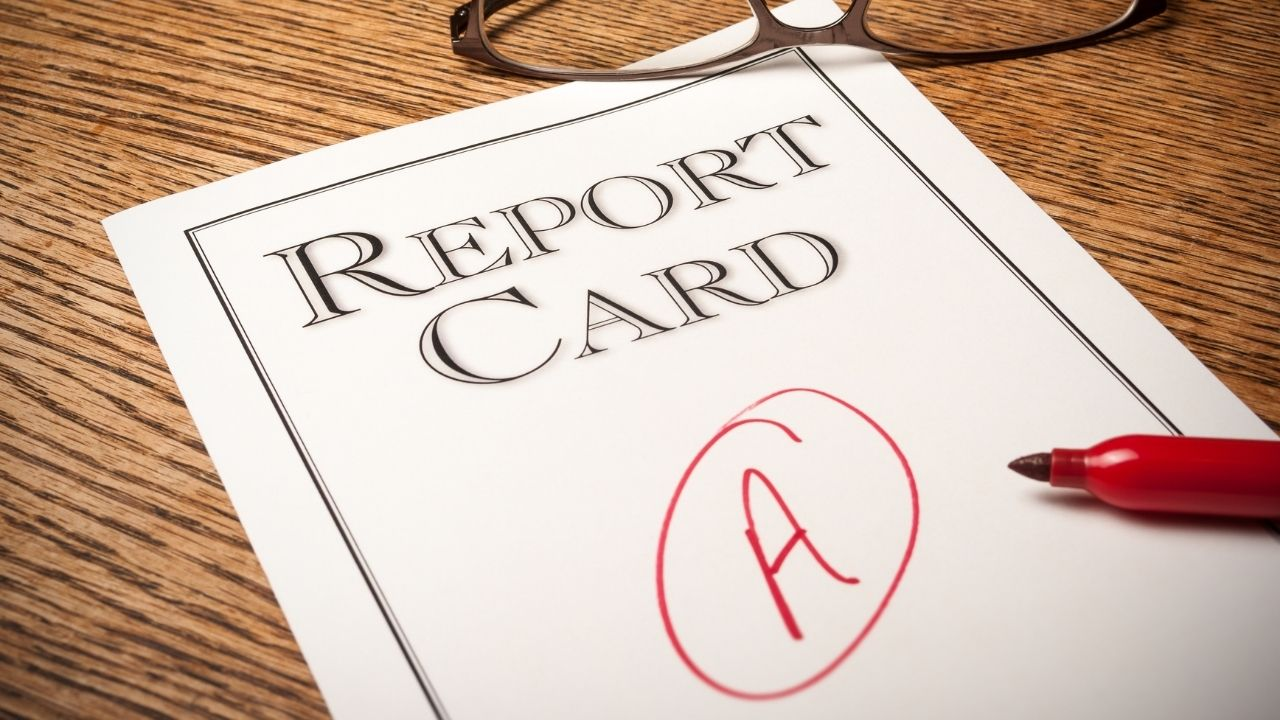 Photo of report card to illustrate story about GPA and jobs.