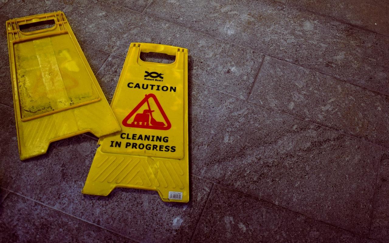 Photo of caution sign to illustrate OSHA training.