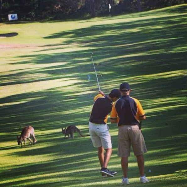 Jeremy and his dad at the World Bling Golf Championship in Australia. Photo: Jeremy Poincenot/Instagram