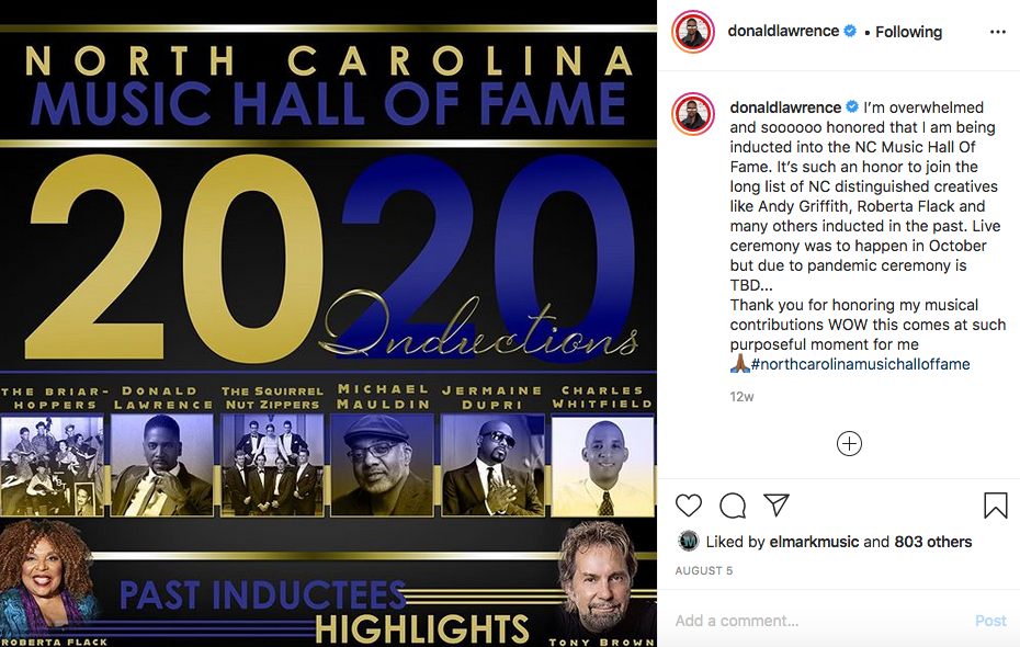 Donald Lawrence IG post regarding induction into the NC Music Hall of Fame