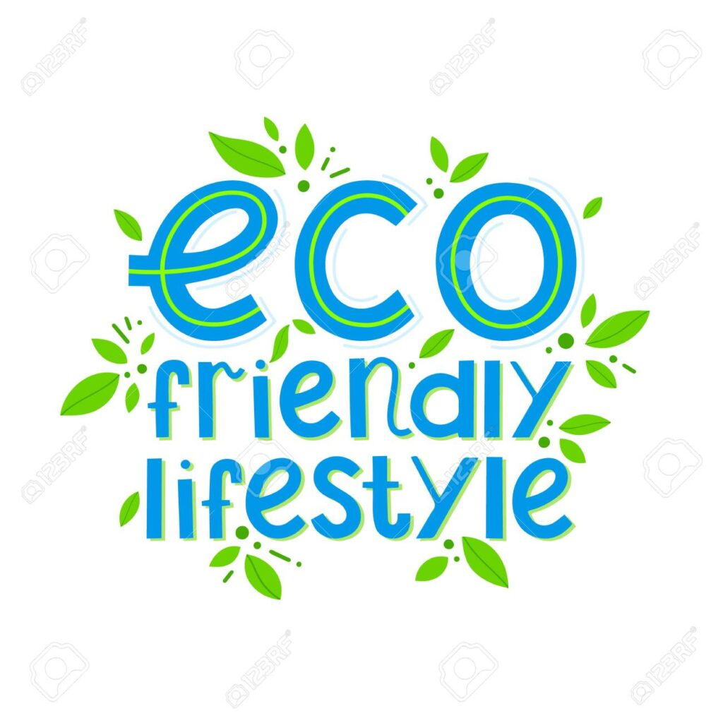 Eco friendly lifestyle vector lettering with tiny leaves.Ink brush inscription.Healthy lifestyle slogan hand drawn illustration.Perfect for prints,flyers,banners,t shirts,eco posters,typography design