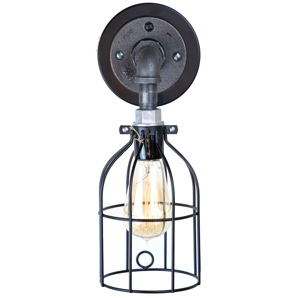 Mounted Cage Sconce Light With Edison Bulb