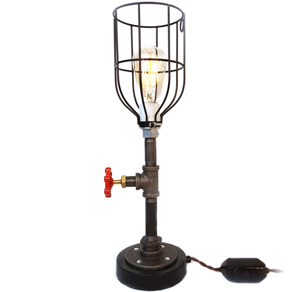 Pipe Table Lamp with Round Black Base