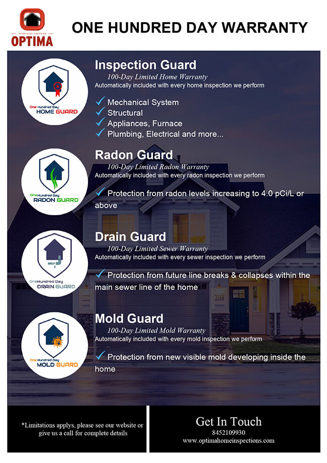 Optima Home Inspections 100 day warranty