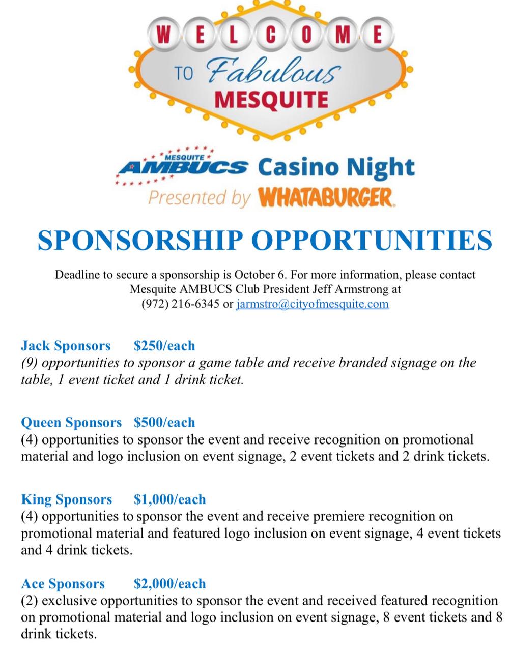 Casino Night Sponsorship