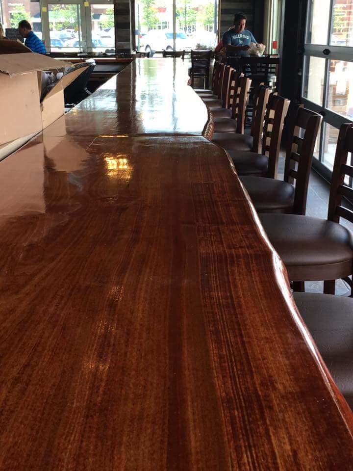 Live edge bar tops and the new restaurant
