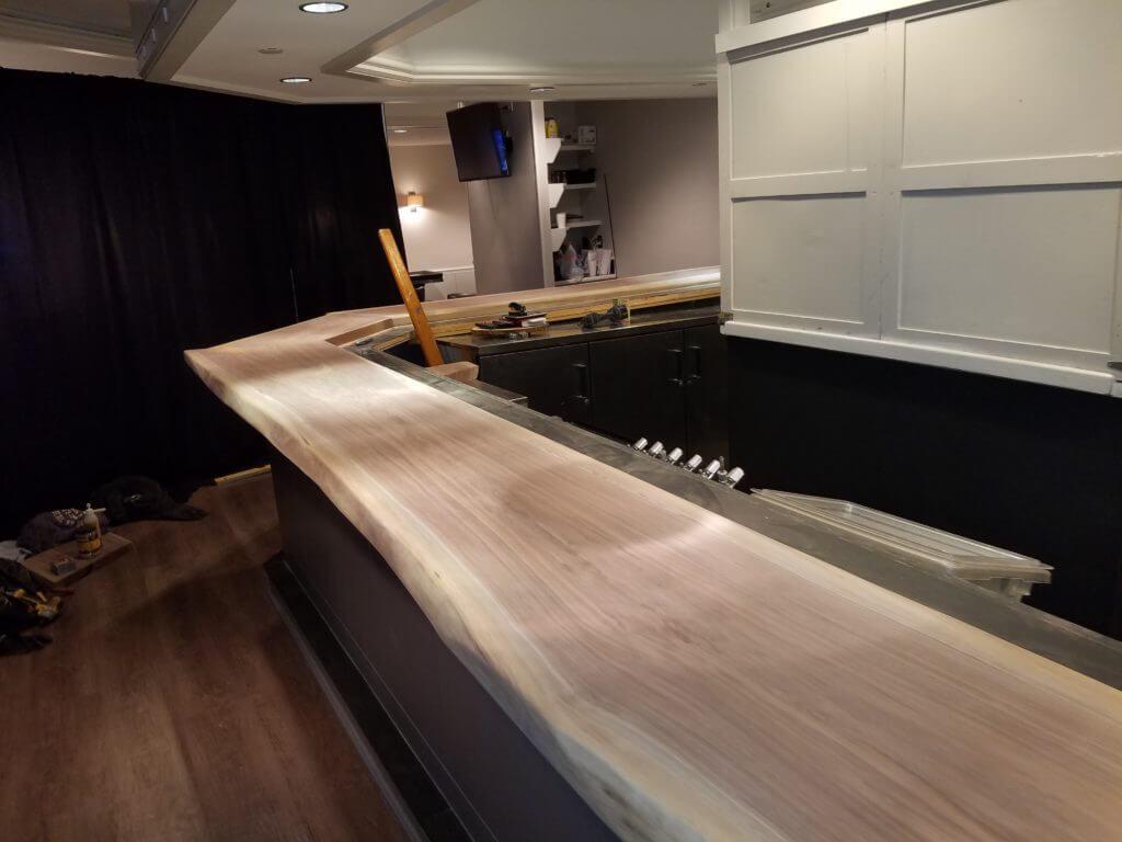 Bar tops at the hotel walnut