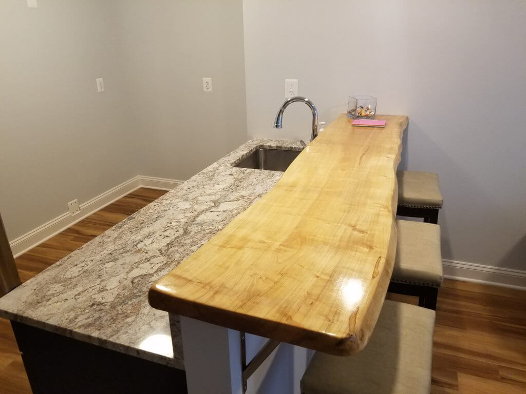 Maple live edge slab counter
