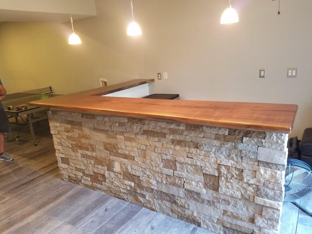 Walnut live edge bar top