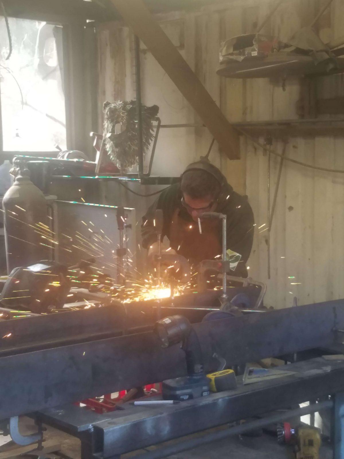 Welding at metal shop