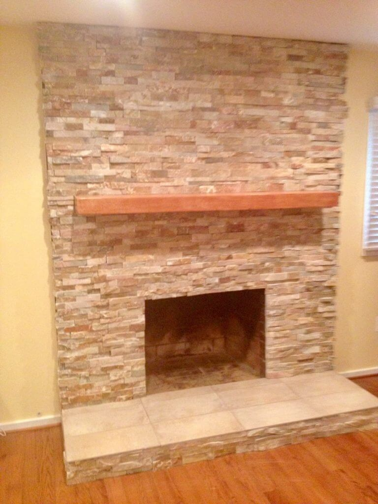 Cherry mantle over fireplace