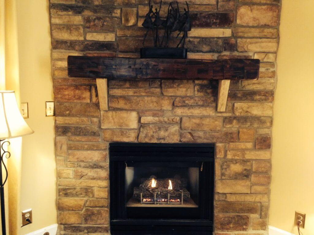 rustic mantle on fireplace