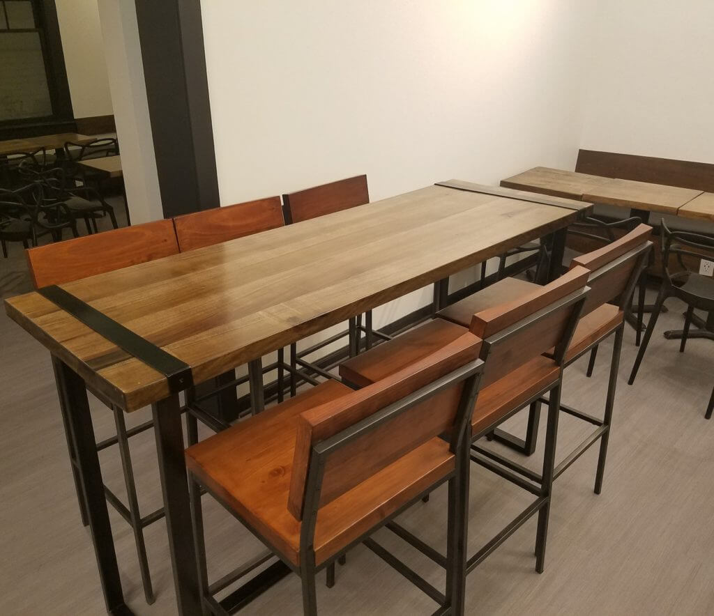 Custom wood table and metal base