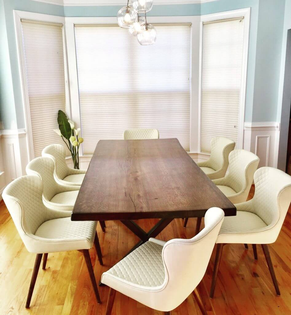 moes dining chairs  slab table cluster chandelier