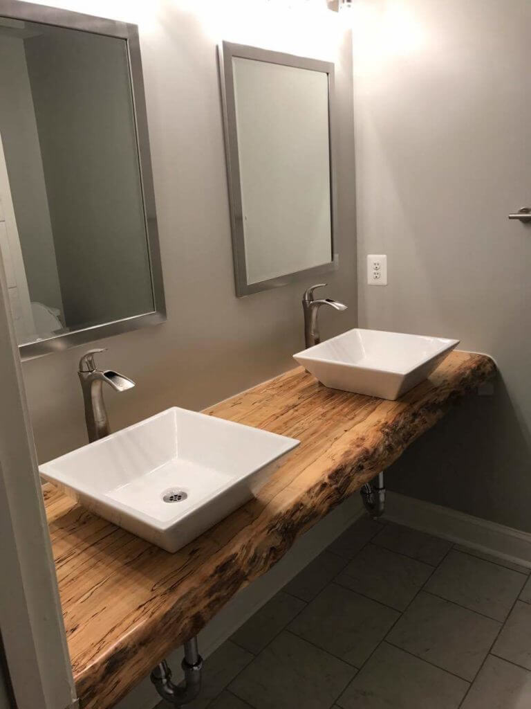 Live edge slab bathroom vanity