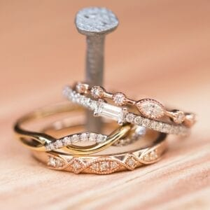 Four stackable rings stacked on a nail