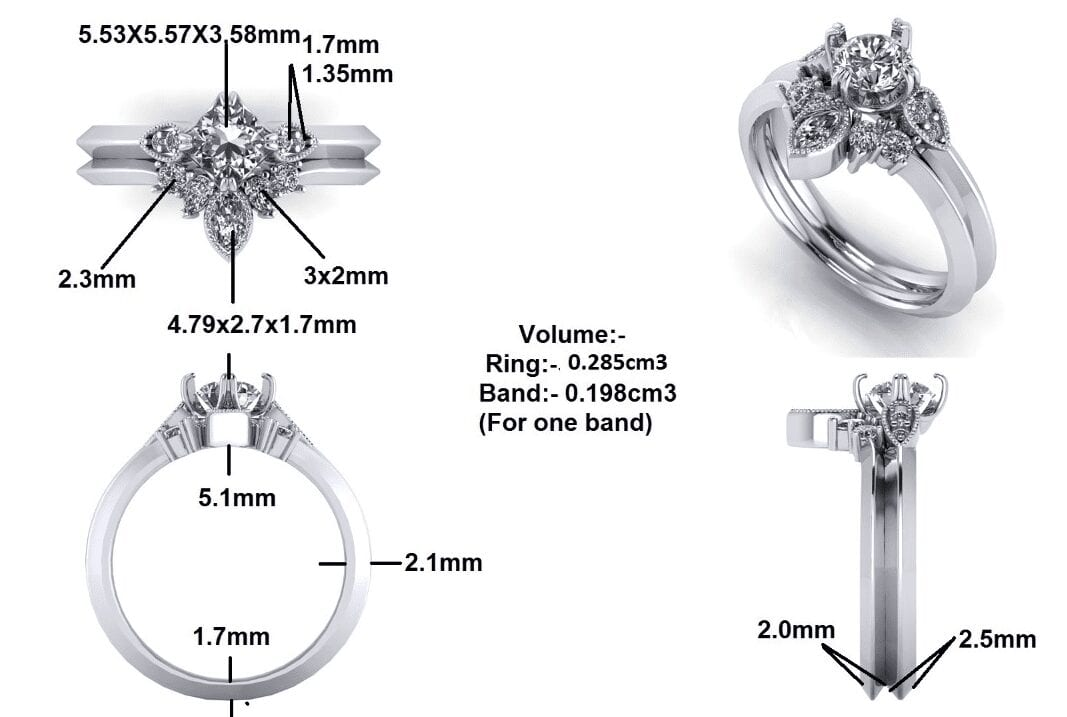 Detailed cad images of custom matching rings
