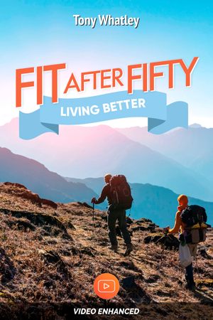 People hiking up a mountain in Fit After Fifty's eBook design
