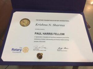 Assoc Prof Krishna N Sharma Rotary PHF