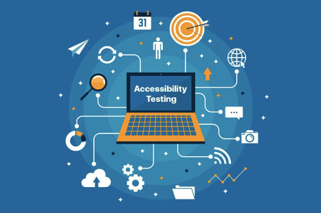 Picture of the words accessibility testing with various icons