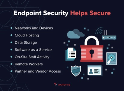 Picture of a lock and text. Endooint security helps secure networks and devices, cloud hosting, data storage, software-as-a-service, on-site staff activity, remote workers, partner and vendor access