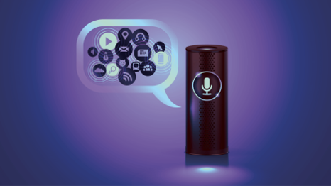 Image of Amazon Echo with various shortcut icons