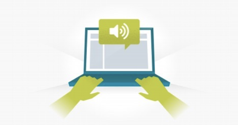 Illustration of hands typing on a laptop with a volume icon