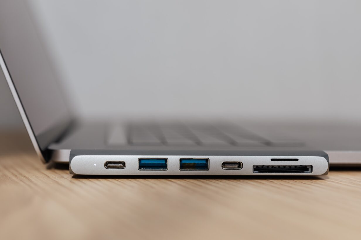 Image of various ports on a laptop
