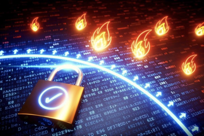 Illustration of computer programming with flames and a padlock on top