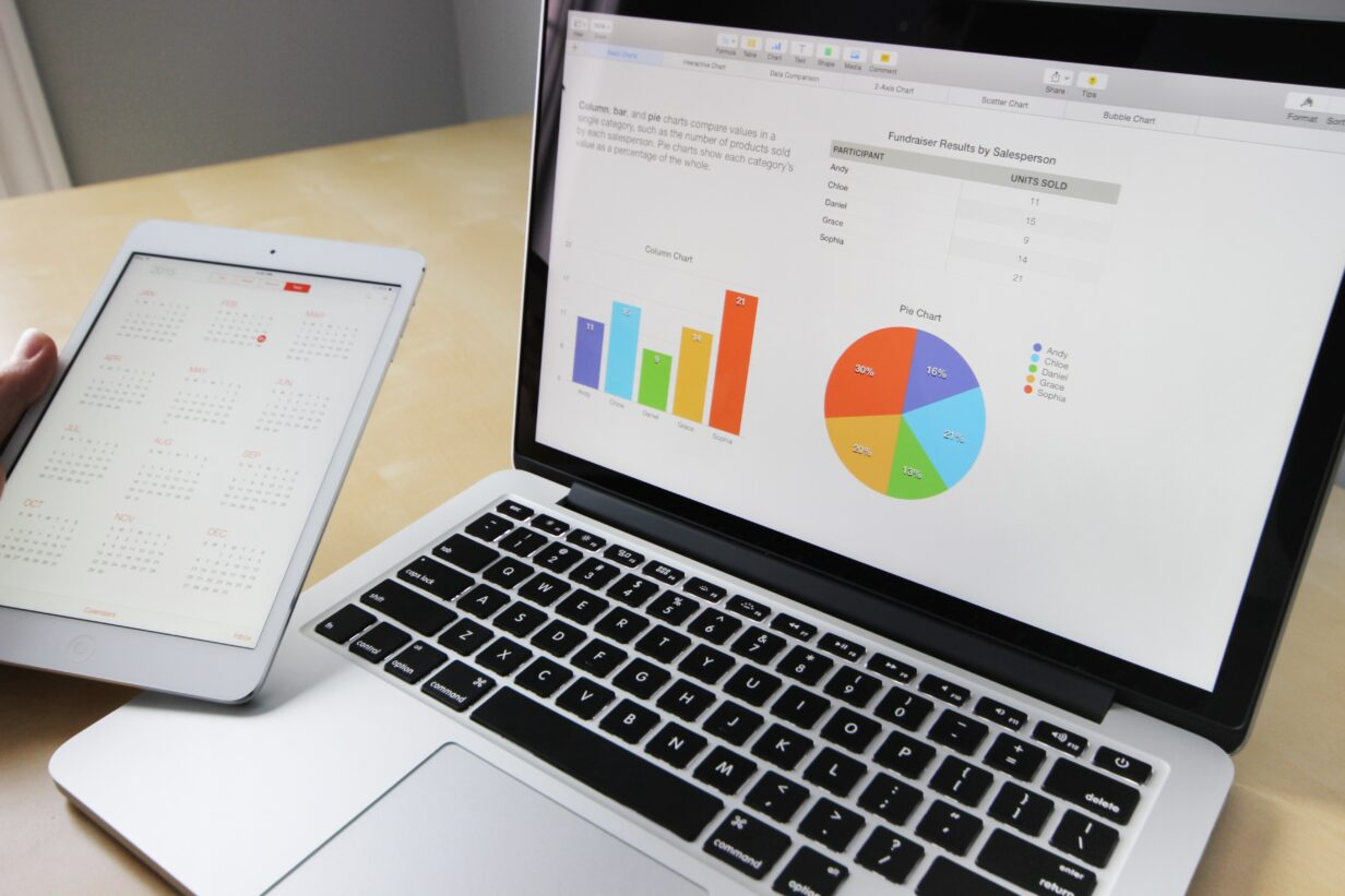 Picture of a laptop and tablet with charts and graphs