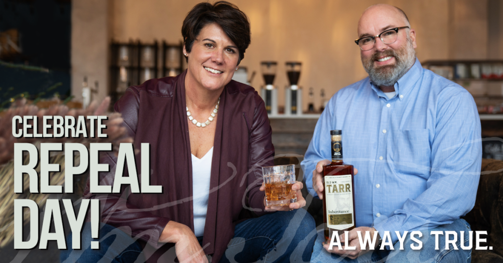 Founders Jill Bakehorn and Barry Brinegar celebrate Repeal Day.