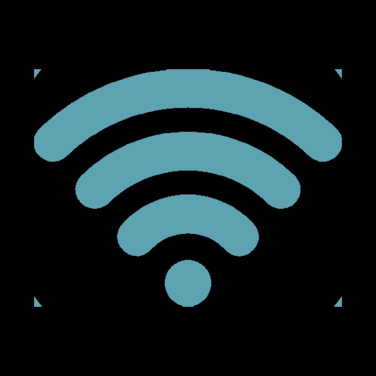 small blue on circular black wifi logo