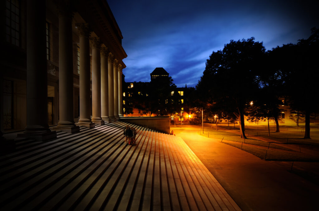Campus Steps at Night