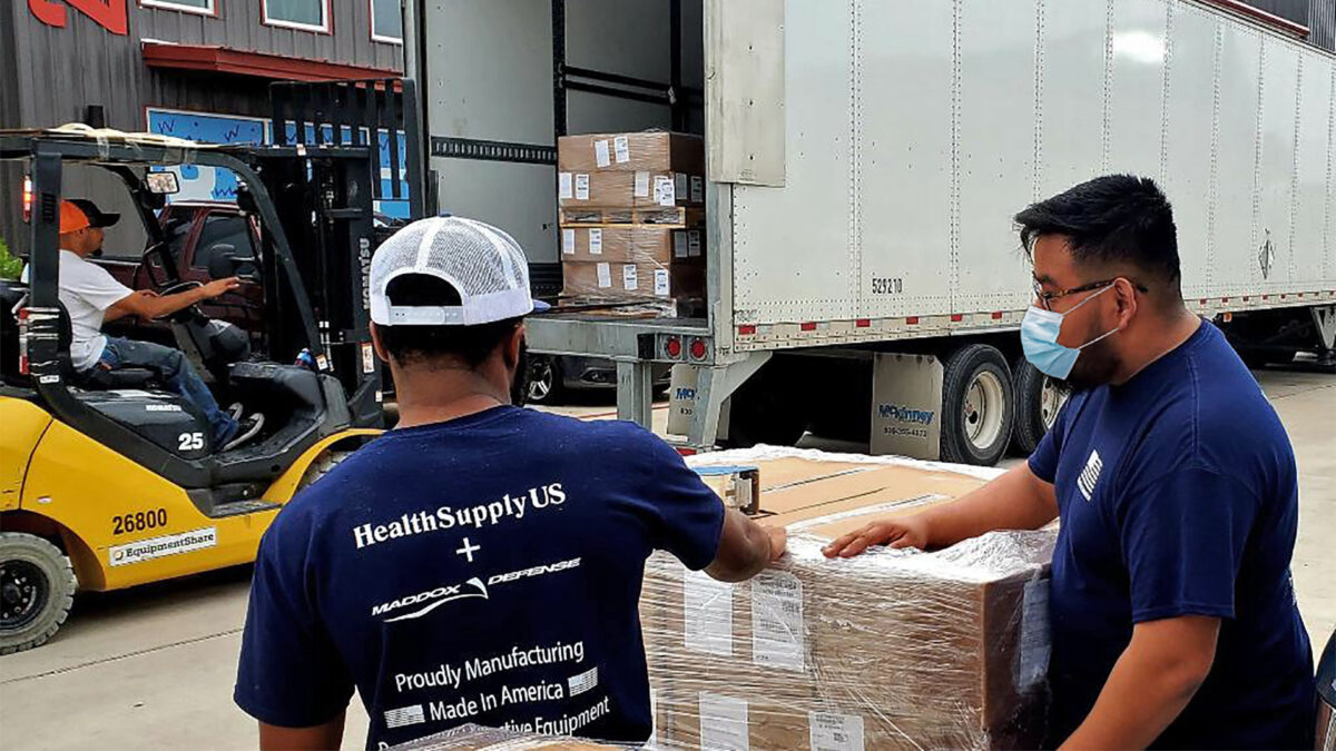 Health Supply US Workers load and deliver PPE to contribute to America's strategic stockpile