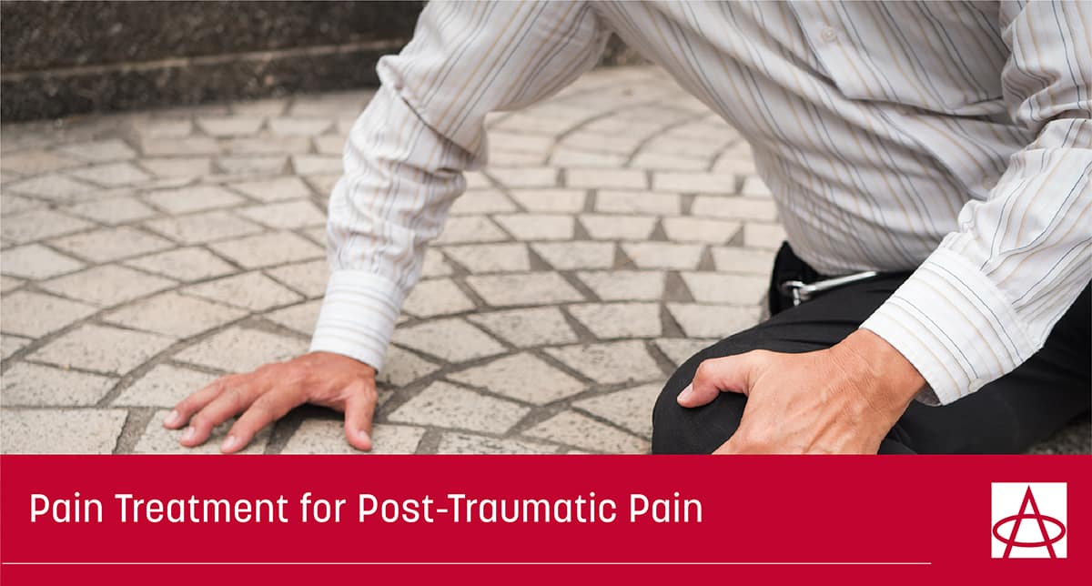 header image for blog a man wearing a long sleeve white shirt with stripes and black slacks is on the ground holding his knee and trying to get up the caption reads Pain Treatment for Post-Traumatic Pain