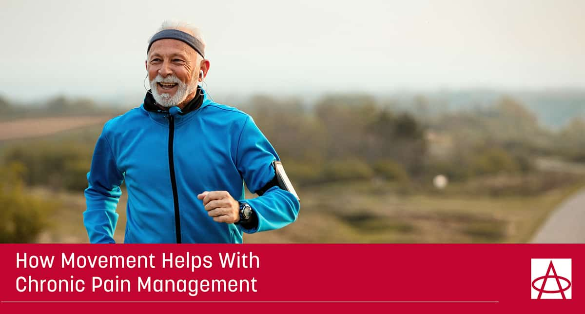 header image for blog an man in his late 50s is jogging outdoors he's wearing a blue sweater and has earbuds on the caption says how movement helps with chronic pain management