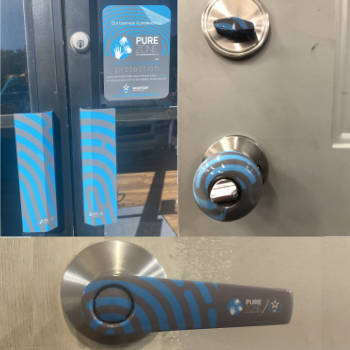 Door handles application Pure Zone antimicrobial protection film Charleston Wrapstar